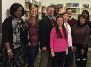 NSBA Pres. Miranda Beard (far left) and AASA Pres. David Schuler (center) meet with American students at Salzburg College.