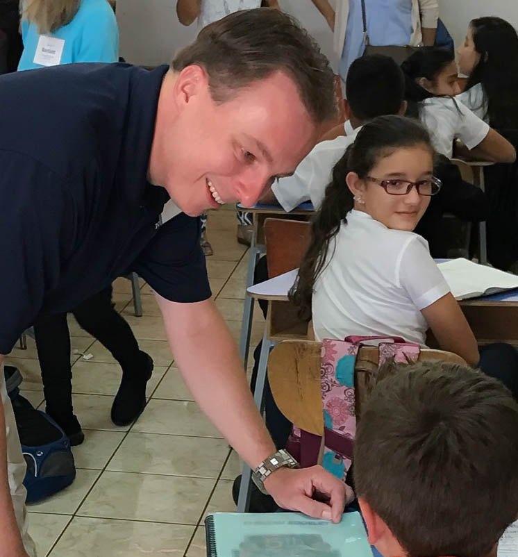 NSBA President-Elect Kevin Ciak with students at the Leon Cortes Castro School in Costa Rica.